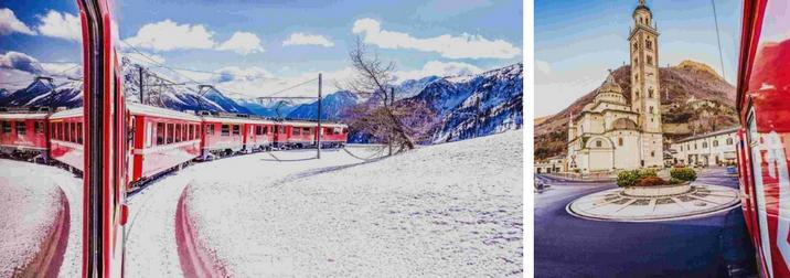 25 febbraio: il trenino del Bernina nel paesaggio innevato